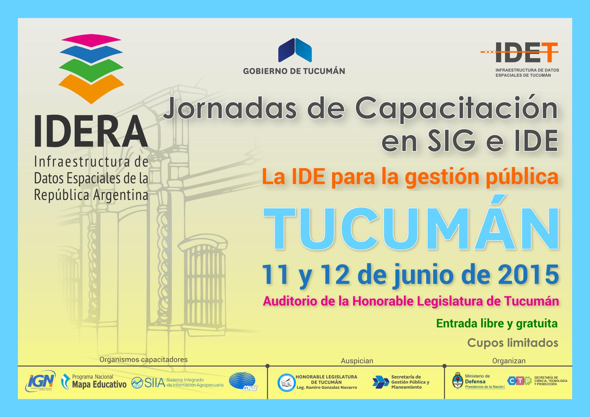 Jornadas de Capacitación en SIG e IDE - Tucumán.